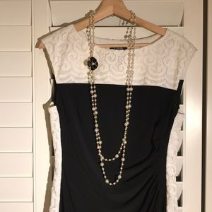 Chaps Black Dress with Lace